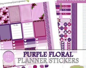 Purple Floral Printable Planner Sticker, Happy Planner Floral Planner Sticker, Purple Digital Sticker Kit, Happy Planner Spring Weekly Kit