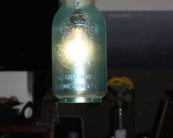 Farmhouse chic pendant glass jar light