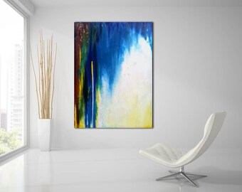 ORIGINAL ABSTRACT PAINTING 36x48 Large Canvas Art Blue Abstarct Art Original Art Absrtact Painting Amber Abstract  Modern Art Oil Painting