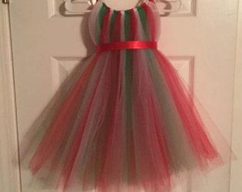 Red Green White Tulle Dress - Christmas Dress