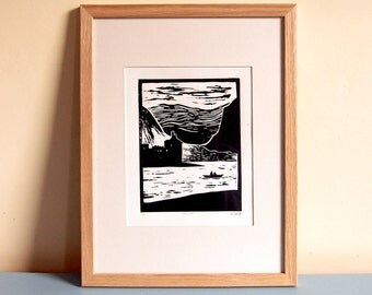 Loch Awe Boaters - Limited Edition Linocut Print - 210mm x 297mm