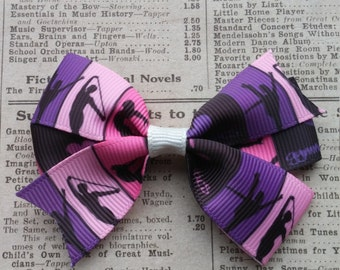 Pink Gymnastics Hair Bow, party favors, girls hair bows