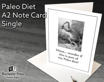 Funny Card Paleo Diet, Funny Paleo Card for Dieter, Diet Card, Funny Card About Paleo Diet, Dieting Card, Funny Dinosaur Card, Silly Cards