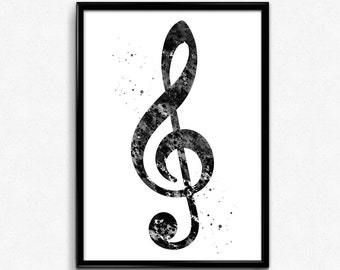 Treble Clef, Musical Symbol, Poster, Room Decor, gift, Black and White Watercolor, Printable Wall Art (338)