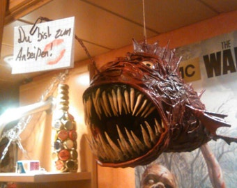 Anglerfish Papermache Sculpture to hang with Clip for Notes, deep sea monster fish creature