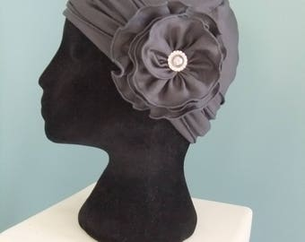 Chemo hat cap headwear with headband and flower dark gray graphite