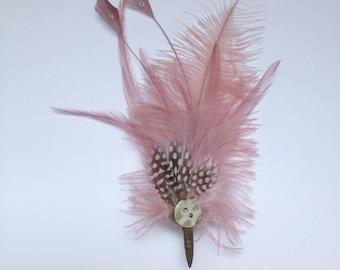 Feather fascinator; pale pink feather hair accessory; pale pink feather corsage; feather clip; feather brooch; hair clip; wedding hiar clip