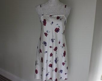 Floral satin slip, 1990s slip dress, 90s chemise, vintage lingerie. satin nightie, layering, festival wear, petticoat, gift for her
