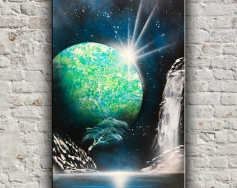 Blue Green planet Spray painting Original painting Scifi Landscape Space star Universe painting Abstract painting Astronomy art Wall decor