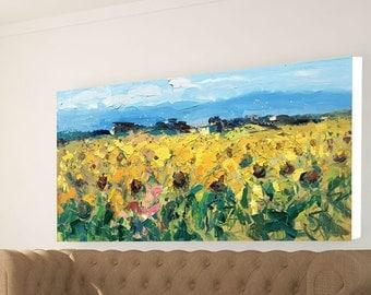 Sunflowers Prints Landscape Prints Sunflowers Art Sunflowers Decor Sunflowers Wall Art Large Wall Art Canvas Print Home Decor Country Prints