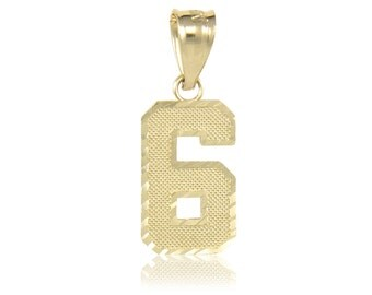 10K Solid Yellow Gold Number Pendant - 0-9 Diamond Cut Necklace Charm