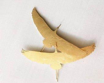 Golden brass brooch JAPANESE CRANE