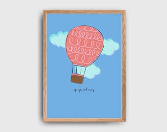Up, Up, And Away Hot Air Balloon Children's Wall Art Printable: INSTANT DOWNLOAD