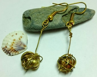 Handmade freshwater pearl earrings in rich copper gold colour