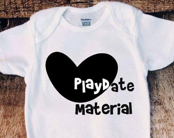 Playdate material onesie bodysuit, creeper, Baby girl or boy outfit, cute baby clothes, unisex onesie, 2017 baby shirts white black onesie