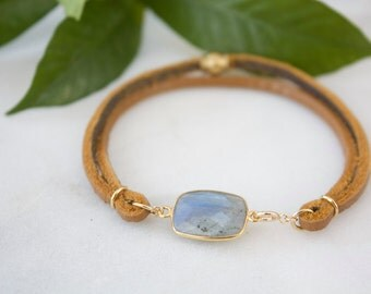 Natural labradorite bracelet, genuine leather bangle bracelet, natural leather, handmade, gold leather, faceted labradorite, gift for her