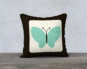 Retro butterfly pillow cover, animal nursery, kids butterfly , butterfly pillow