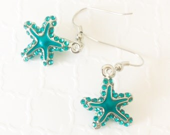 Starfish Earrings ~ Beach Bridesmaids Jewelry ~ Star fish Earrings ~ Crystal Starfish Earrings  ~ Blue Starfish Earrings ~ Handmade Earrings