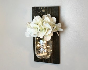 Mason Jar Wall Decor, Lighted Mason Jar, Rustic Home Decor, Country Decor, Mason Jar Decor, Wedding Decor, Farmhouse Decor, Outdoor Lights