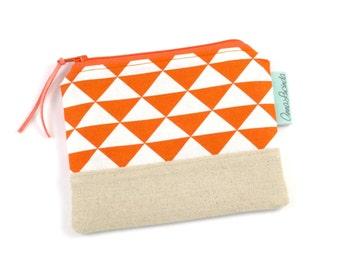 Orange Geometric Travel Wallet, Small Money Purse, Coin Purse Wallet, Women's Wallet, Handmade Wallets for Women, Coin Pouch, Zipper Pouch,