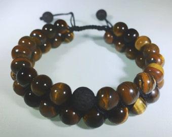 Tiger Eyes & Black Lava double strand Bracelets