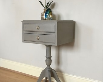 Hand painted pedestal table with two drawers painted in Annie Sloan Chalk Paint