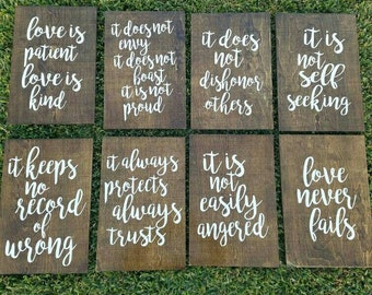 "Set of 8 Birch Wood Wedding Aisle Signs 12"" x 18"" rustic wooden 1 Corinthians 13"