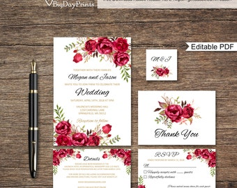Red Wedding Invitation Template, Boho Chic Wedding Invitation Suite, Floral Wedding Set, #A015A, Instant Download, Editable PDF