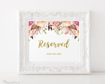 Reserved Sign Printable, Wedding Reserved Table Sign, Reserved Card, #A010-1, INSTANT DOWNLOAD with EDITABLE text - you personalize at home