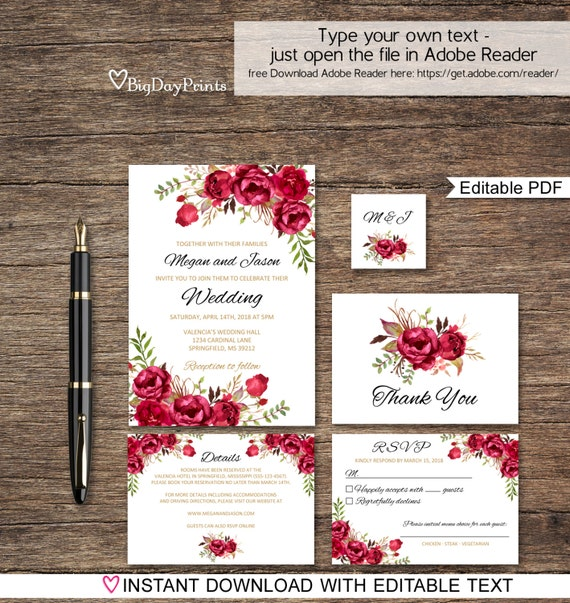 Wedding Invite Email Template: Red Wedding Invitation Template Boho Chic Wedding Invitation