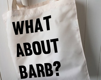 What about Barb? Stranger Things Inspired Handmade Tote Magazine Shopping Bag Gift For Stranger Things Fans for her for him, valentines gift
