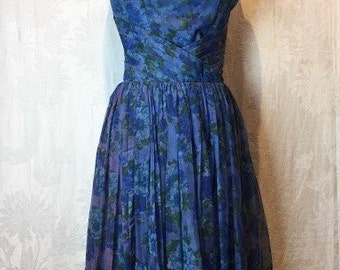 62. SOLD - VINTAGE- Blue Floral Dress
