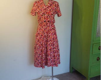 1980s Liz Claiborne Pink Confetti Dress. Double Breasted. Pockets. Short Sleeve. Midi. Size XS.