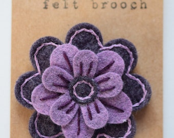 Embroidered felt flower pin/brooch