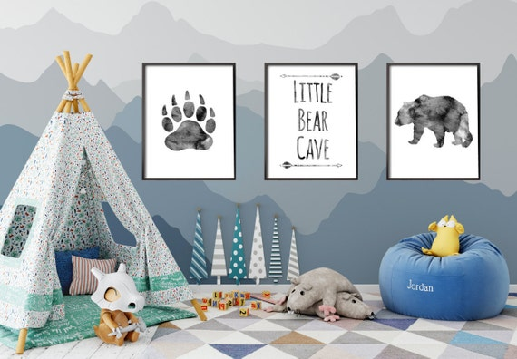Above crib decor baby boy nursery decor bear cave grey for Above the crib decoration ideas