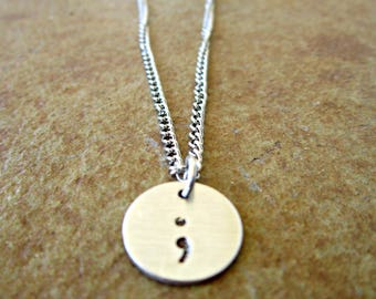 Semicolon Necklace, Semicolon Jewelry, Project Semicolon, My Story Isn't Over, Handstamped Necklace, Inspirational Necklace, Semi Colon