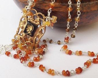 Warrior vintage pendant, orange necklace, carnelian necklace, orange beaded necklace, 1950s vintage, something special