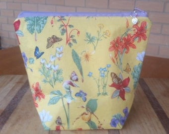 Small Project Bag 'Yellow Butterflies and Flowers'
