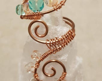 Wire wrap ring; Copper ring; Beaded ring; Wirework ring; Copper wire ring