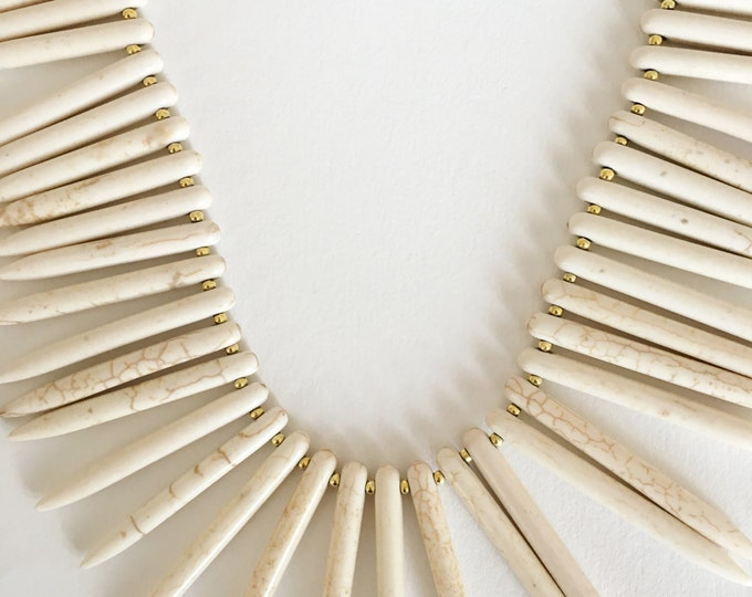 White necklace, Golden chain necklace and white Howlite semiprecious stones