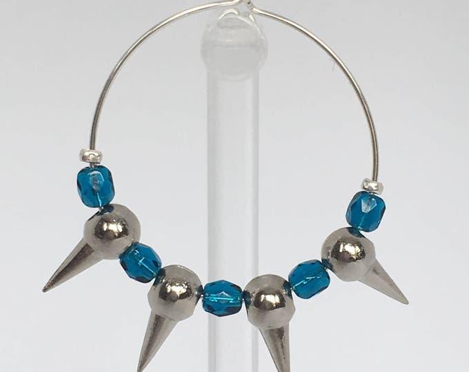 Silver earrings, Silver plated hoop earrings with metal blue beads