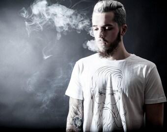 Hamburger Jung T-Shirt white   mens tshirt printed   urban streetwear   Tattoo Rockabilly design   Hamburg Grunge Tee Shirts