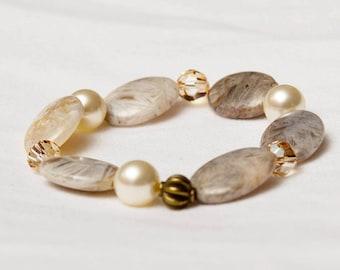 The Elizabeth Handmade Bamboo Agate Natural Gemstone & Swarovski Crystal Stretch Bracelet