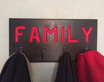 "Coat Rack w/ ""Family"" - Black with Red Letters"