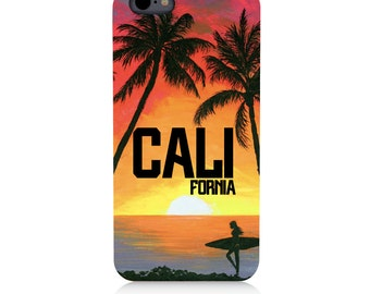 iPhone - Samsung Galaxy - Natural Wood - UV Print Cell Phone Case - Sunny California- High quality Cherry Wood-Designed and Printed in USA