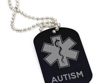 Custom Medical Alert ID Tag - Personalized ID Necklace with Chain, Stainless Steel - Autism Laser Engraved Military Style ID Tag