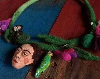 Friday kahlo necklace. Needle felted.polymer clay.floral.hand made.fair trade.
