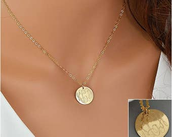 Gold Disc Necklace, Monogram Necklace Gold, Engraved Disc, Gift For Her, Personalized Disc Necklace, Gold Monogram
