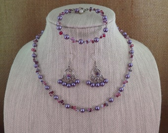 Lovely Lavender Glass Pearl & Seed Bead Necklace, Bracelet and Earrings Set in Silver -- FREE SHIPPING!!!