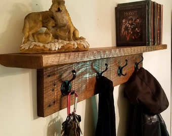 Hand Made Re-Purposed Coat Rack with Shelf